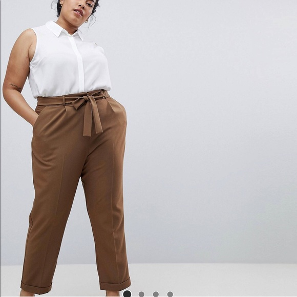 f5662a475950 ASOS Curve Pants - Asos Curve Woven Peg Pants with Tie
